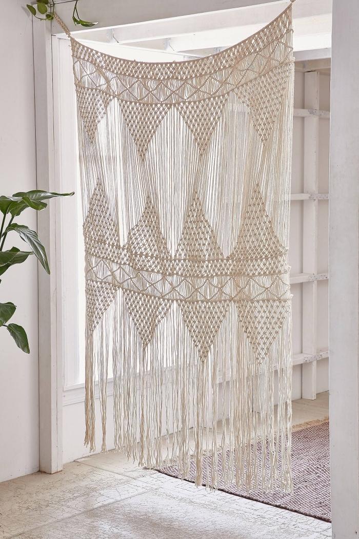 knoten anleitung ideen vorhang aus stoff und faden machen, dekorationen