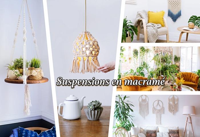 macrame, ein collage aus fünf fotos mit inspirierenden bildern und ideen zum thema makramee selber machen, aufschrift auf französisch