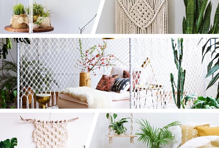 macramee, deko selber machen, ein netz aus stoff und faden machen, selber stricken mit den händen, collage mit blumen und schlafzimmerdeko