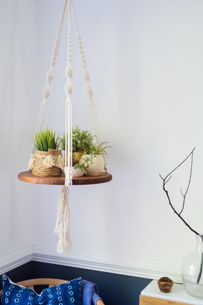 makramee wandbehang oder regal für die blumen, schöne und kreative hausdeko ideen zum selbermachen