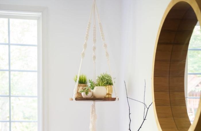 diy deko makramee wandbehang selber machen, dekorationen für die wohnung regal hängend