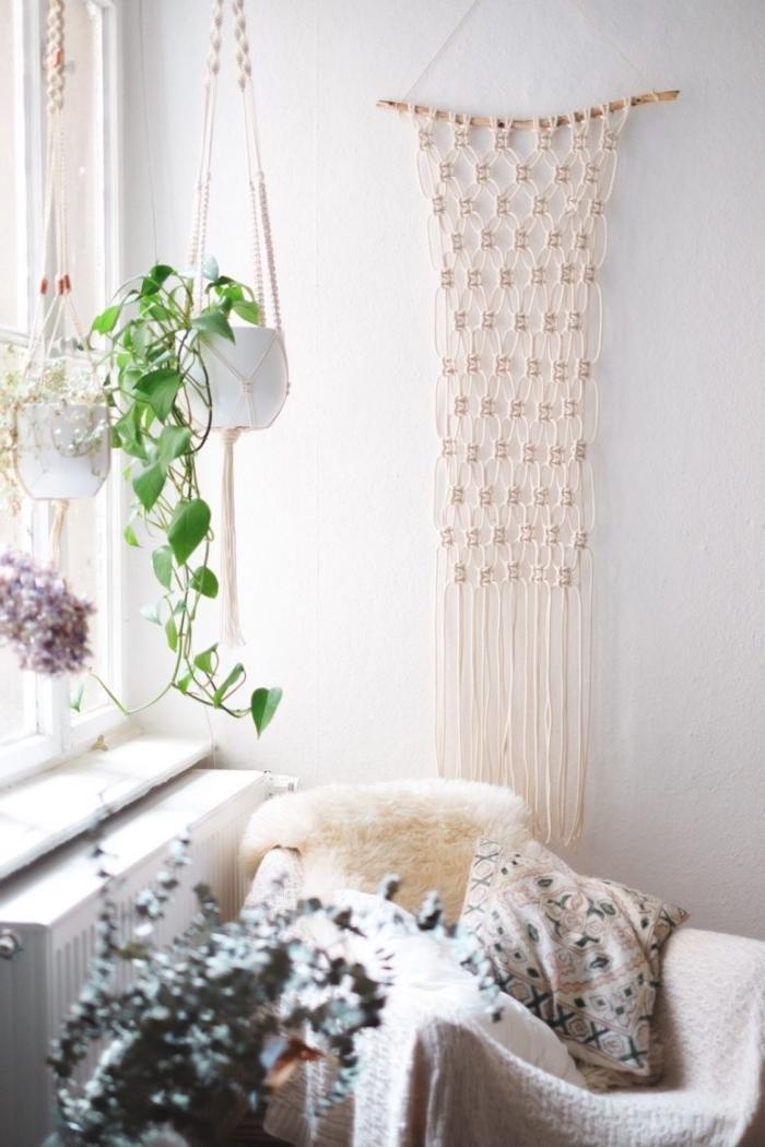 makramee wandbehang zum aufhängen, dekorationen aus stoff selber knoten und aufhängen