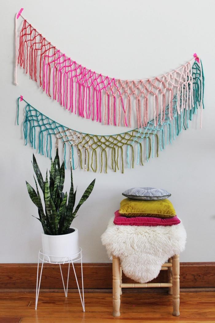 makramee vorhang ideen zum gestalten eines bunten zimmers im minimalistischen stil, bunte deko