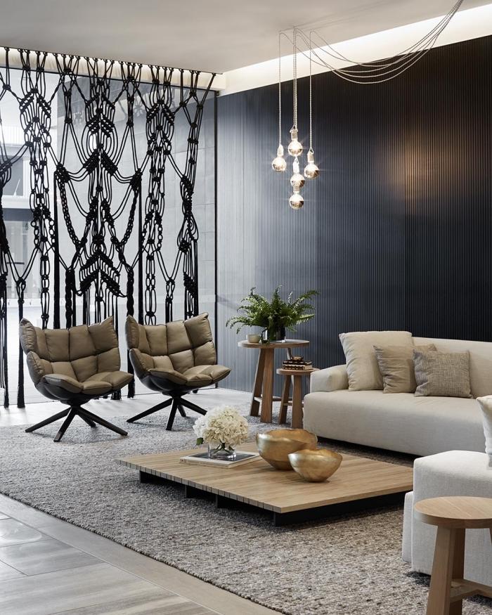 makramee vorhang in schwarzer farbe, kreative deko ideen, stilvolle wohnung modern mit ethno elementen