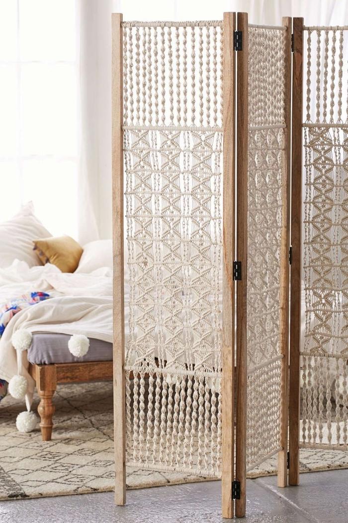 makramee vorhang für das zuhause, raumteiler selber basteln kreative idee, schöne hausdeko