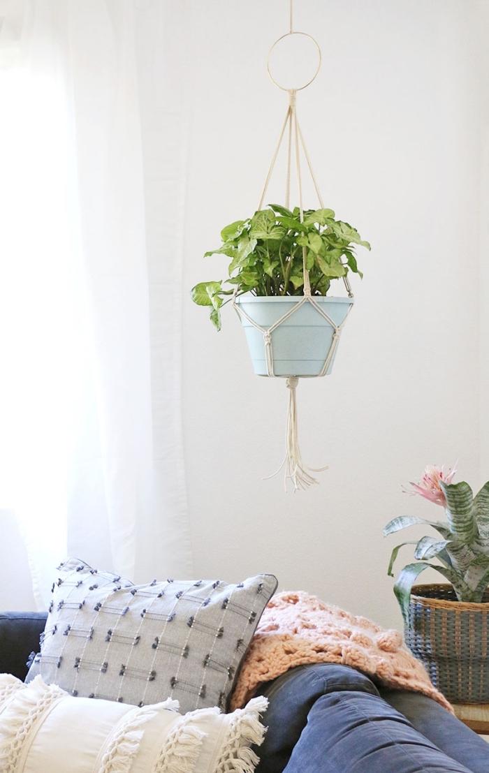 makramee schmuck für die wohnung, blumendeko idee grüne pflanze in einem topf der hängt
