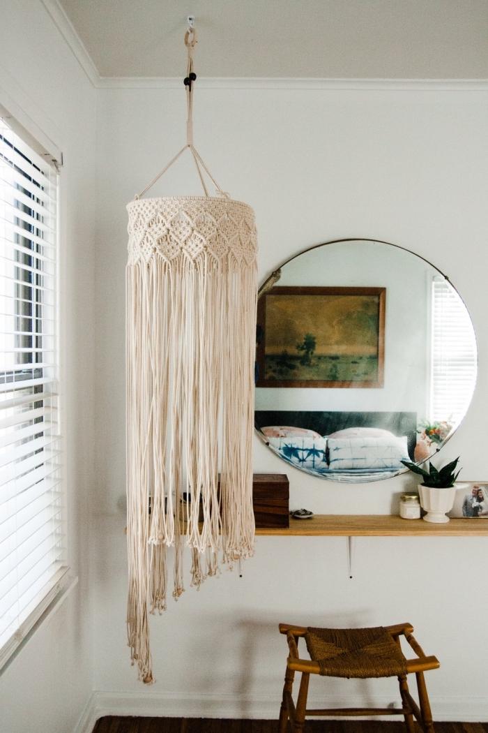 makramee anleitung zum getsalten eines lüsters, schönes lampendesign, großer spiegel