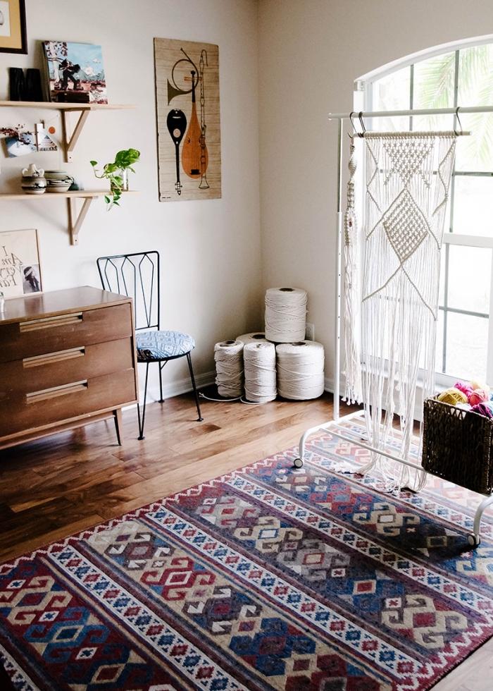makramee anleitung ideen, schöner teppich zum inspirieren und dekorieren von der wohnung