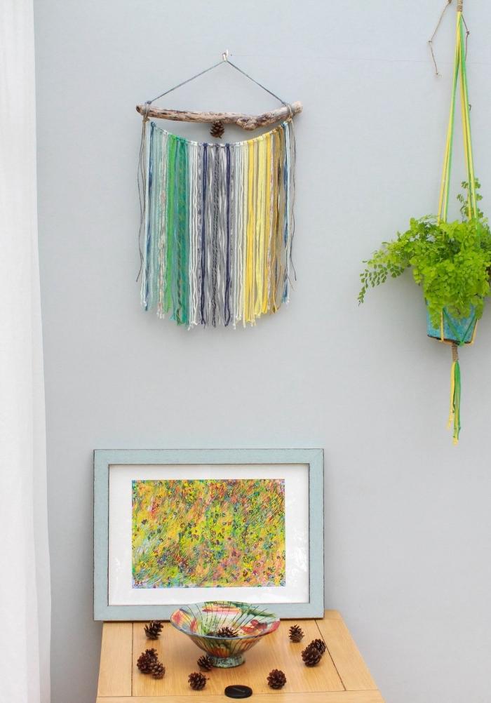 makramee wandbehang, deko ideen bunte makrameen, faden deko selbst machen