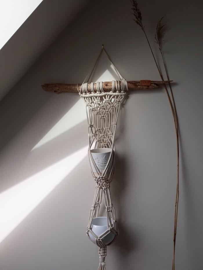 makramee wandbehang ideen und deko, einfaches deko design, weiß und naturfarbe