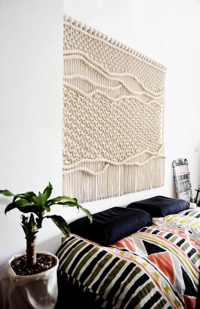 makramee knoten anleitung idee für wanddeko zum entlehnen, schlafzimmer