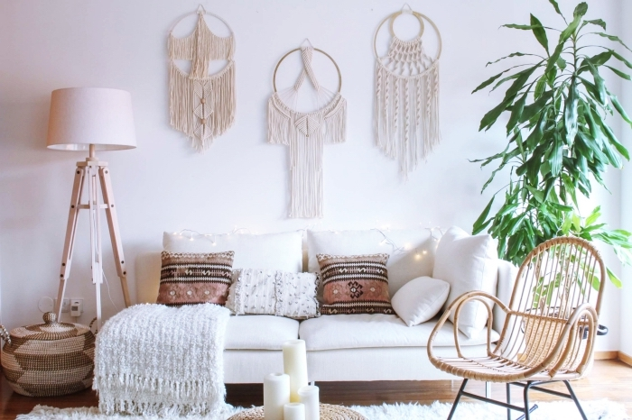 makramee vorhang deko ideen, kleine makrameedekorationen sind die vorstufe zum vorhang