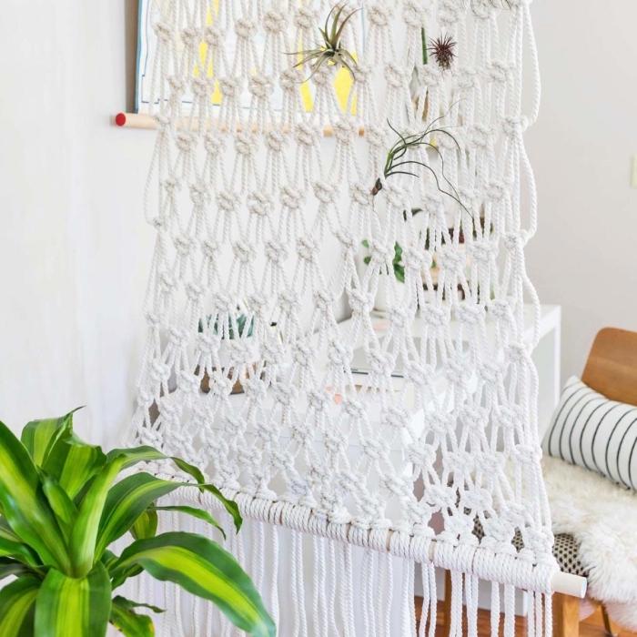 makramee armband deko ideen weiße faden selber kneten, und deko für die wohnräume machen