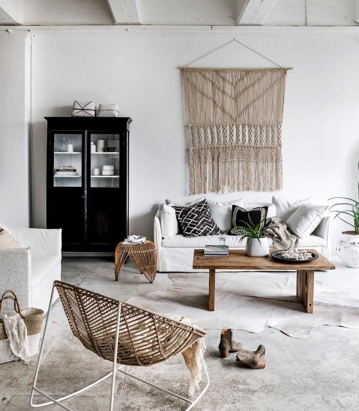 makramee vorhang idee dekorationen, ethno stil deko und einrichtung im wohnraum
