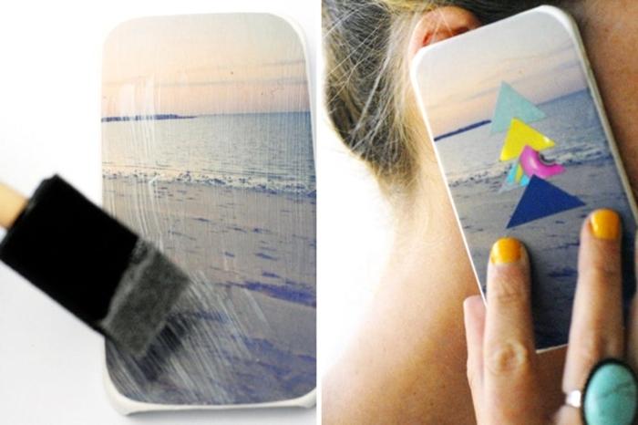 Handyhülle selber machen, ein Foto vom Meer, vier kleine bunte Dreiecken, kreatives Design