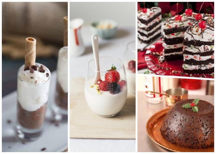 dessert mit sahne und schokolade, nachspeise im glas, kuchen mit datten, torte mit kirschen