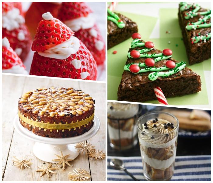 nachspeise im glas mit erdnusscreme und sahne, weihnachtsmänner aus erdbeeren, tannenbäume aus schookuchen