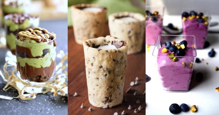 gläser aus kuchenteig, nachspeise im glas mit pfefferminze und schokolade, blaubeerencreme