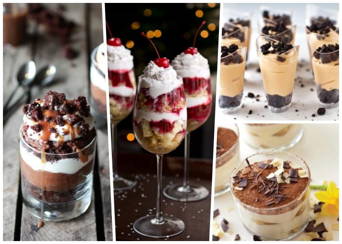 nachtisch im glas, dessert in champagnegläsern mit weißer sahne und kirschen, schichtdessert mit schokolade
