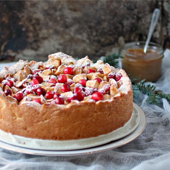 kuchen mit früchten, schneller nachtisch zu weihnachten, weihnachtsdessert einfach