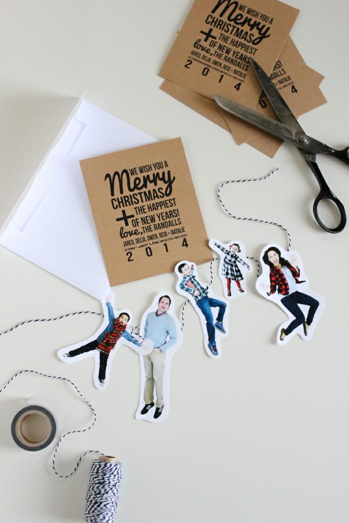 lustige Weihnachtskarten, Fotos und eine braune Grußkarte mit Glückwünsche zu Weihnachten