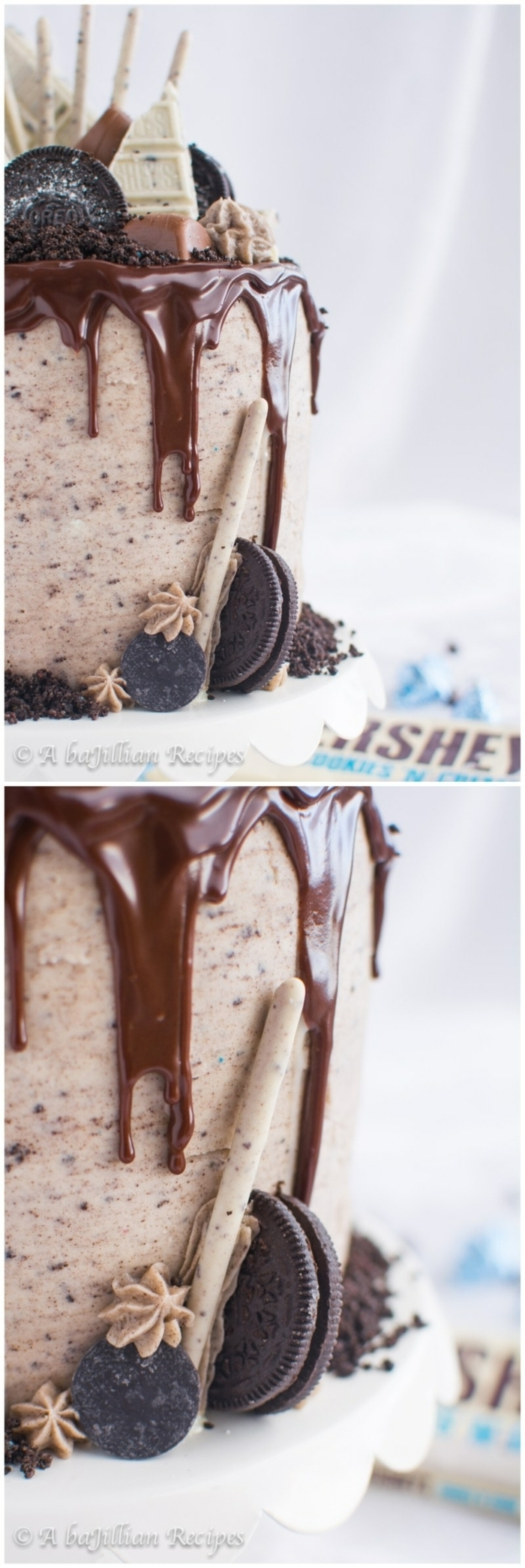 Oreo Rezept, Torte mit Schokoladenglasur, weiße Schokolade als Dekoration, halber Oreo Keks