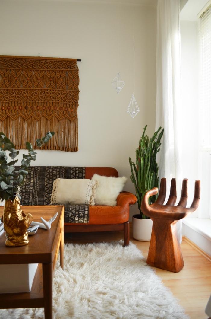 wanddekorationen makramee kette in brauner farbe, deko, sessel in form von einer hand