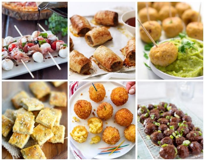 schnelle vorspiesen ideen, spießen mit mozzarella und schinken, partyrezepte zum vorbereiten am vortag