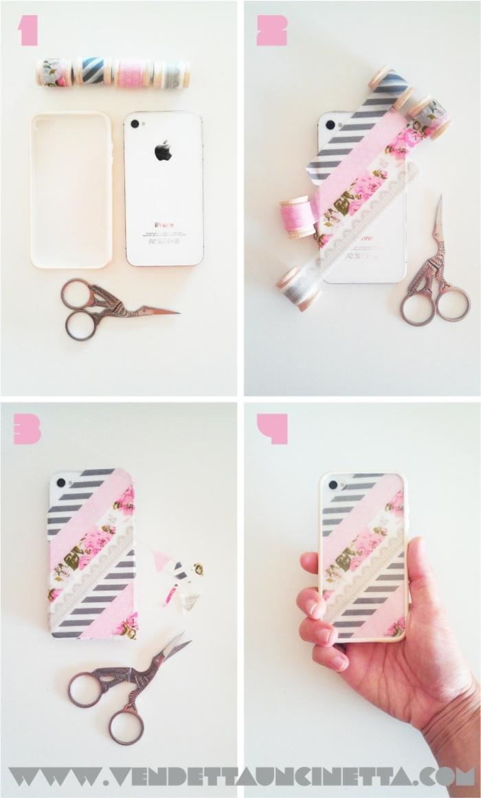 handyhülle personalisieren, silikon hülle dekoriert mit bunten Bänden in pink und mit blumen motive