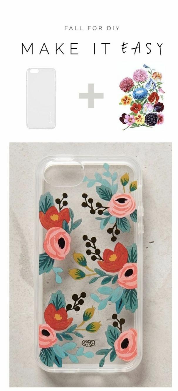 handyhülle personalisieren, durchsichtige Hülle, temporäre Tätowierung mit Blumen in rot und pink