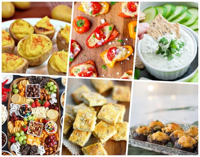 rezepte für gäste, mini kartoffeln mit gewürz, paprika mit frischkäse, platte mit cracker, oliven und früchten