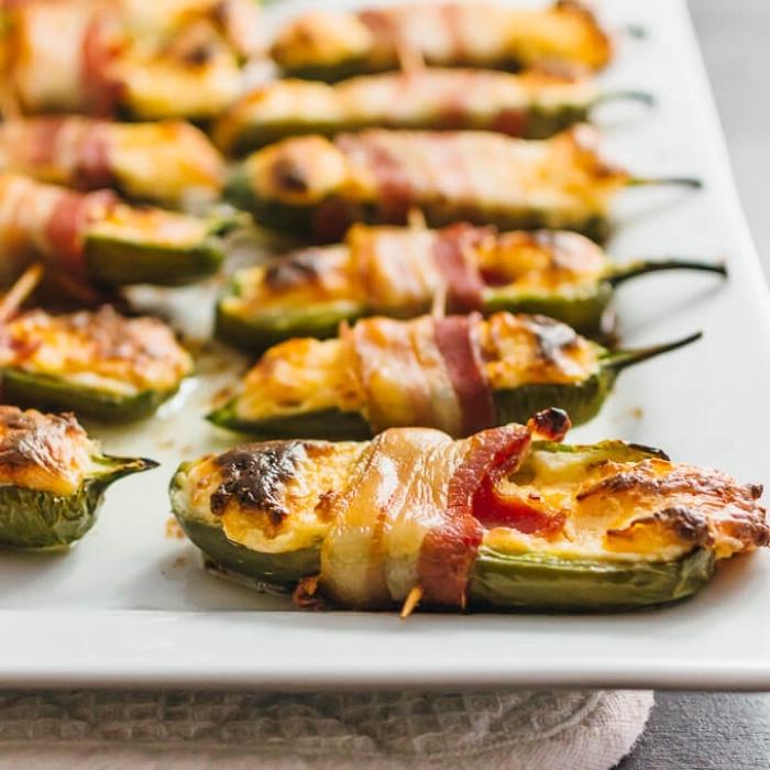grüner paprika jalapeno mit bacon und käse, rezete für gäste, vorspeise ideen