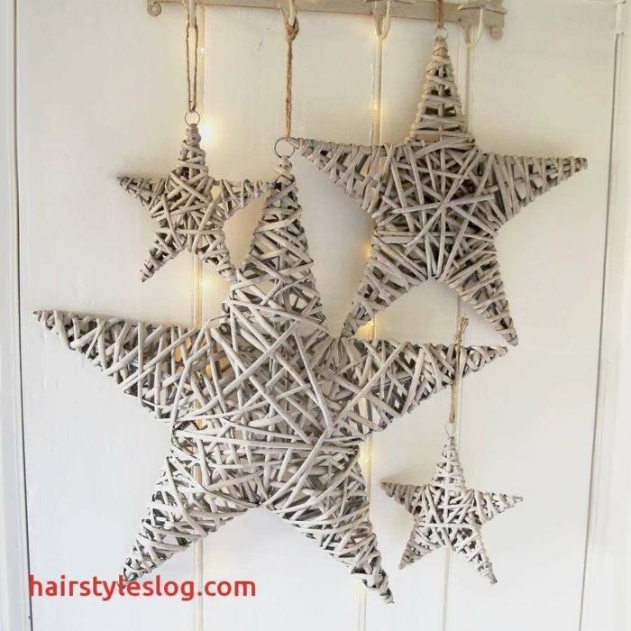 kleine Sterne und große Sterne, aus Stöcken geflochten, Weihnachten basteln mit Kindern