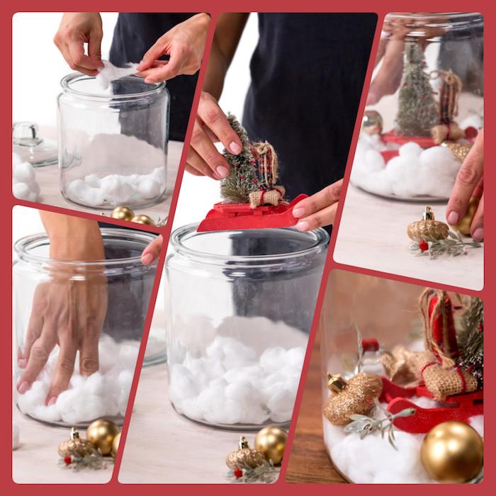 Schneekugel selber machen in fünf Schritten, Watte und Weihnachtsschmuck in großes Glas füllen
