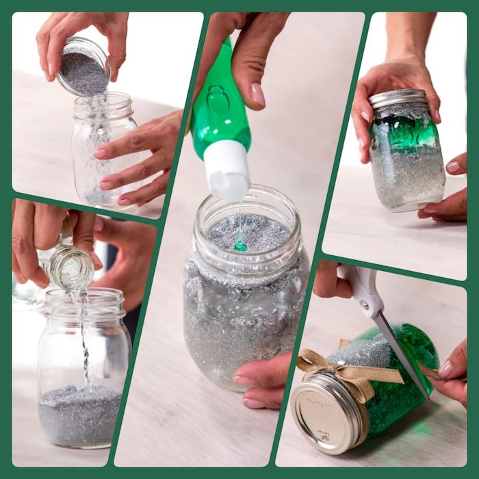 Schneekugel einfach und schnell selber machen, grüner und silberner Glitter füllen, Wasser und Glycerin, das Glas mit Dekoband verzieren