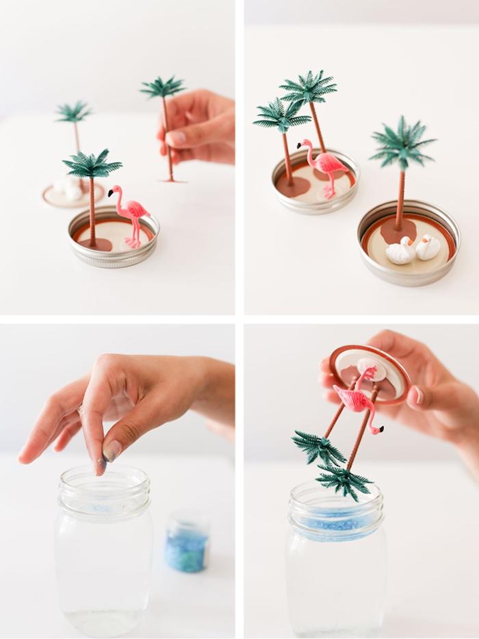 Tropische Schneekugel selber machen, DIY Anleitung in vier Schritten, Flamingo und Palmen in Glas mit Wasser und Glycerin