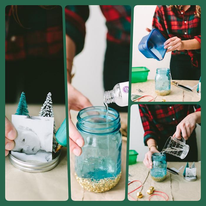 Schneekugel mit Foto und Weihnachtsbaum, Wasser Glycerin und künstlicher Schnee füllen