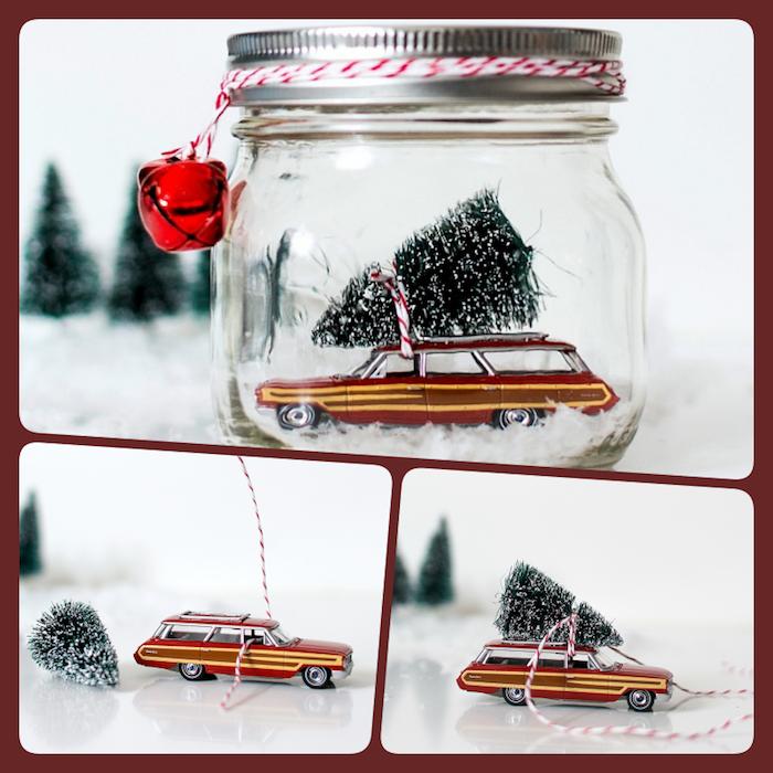 Spielzeugauto und Weihnachtsbaum in Einmachglas, um den Deckel Faden mit Glöckchen wickeln