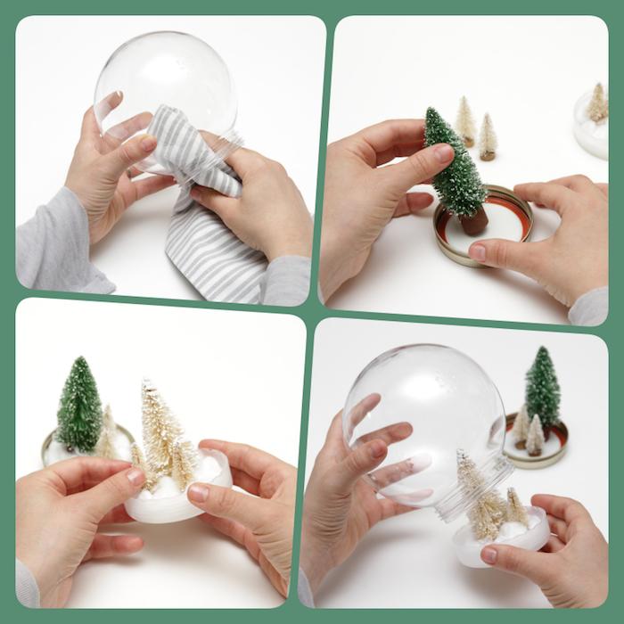 Schneekugel selber machen in vier Schritten, mit kleinen Weihnachtsbäumen darin, rundes Glas