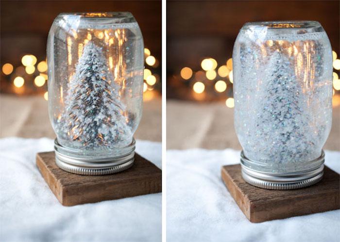 Selbstgemachte Schneekugel mit Weihnachtsbaum und künstlichem Schnee darin, Weihnachtsbasteln Ideen