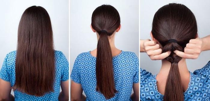 Lange glatte Haare zum Ponytail binden, schöne Frisuren für den Alltag zum Nachstylen