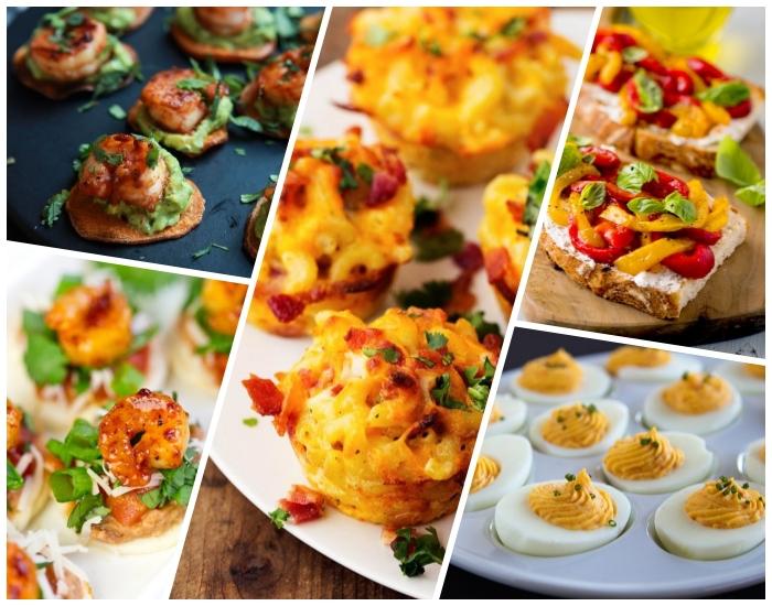 schnelle partyrezepte, copcakes mit käse und pasta, cracker mit garnelen, eier