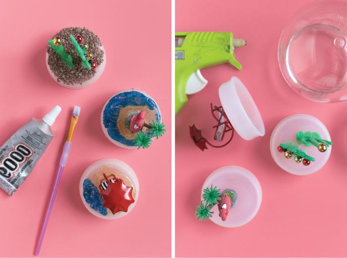 Bunte Figuren aus Plastik für DIY Schneekugel, Kakteen mit Weihnachtskugeln, Liegestuhl und Flamingo