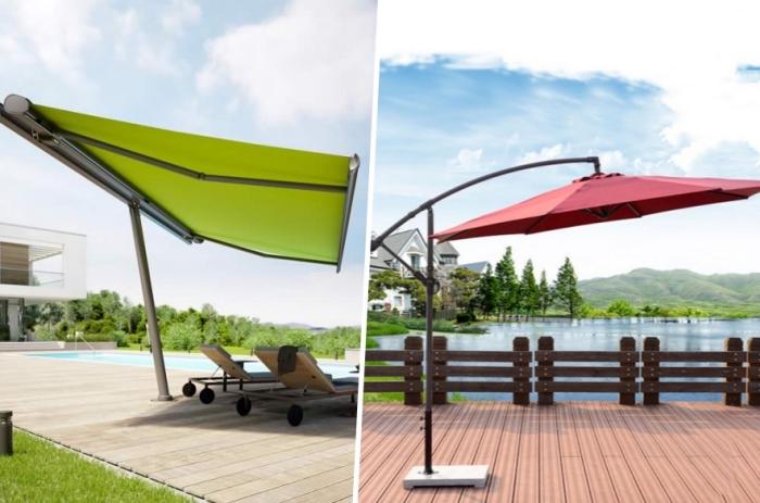 sonnenschutz für garten, terasse und balkon auswählen, torter ampelschirm, grüner markisenschirm