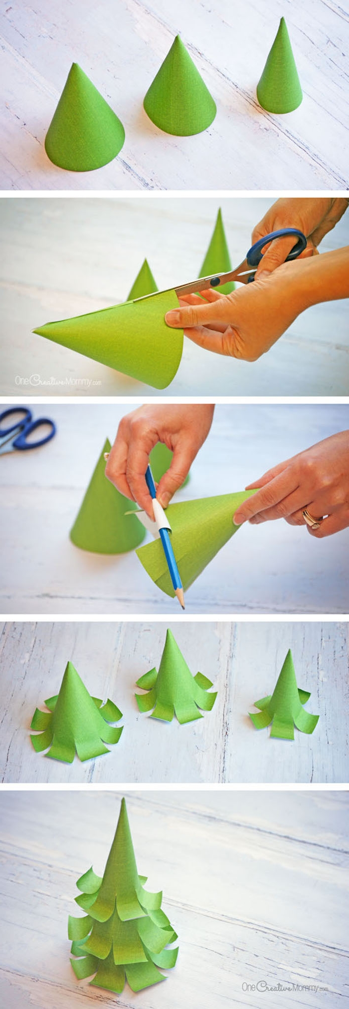 Kleine Weihnachtsbäume aus Papier selber machen, DIY Anleitung in fünf Schritten, Weihnachtsbasteln mit Kindern