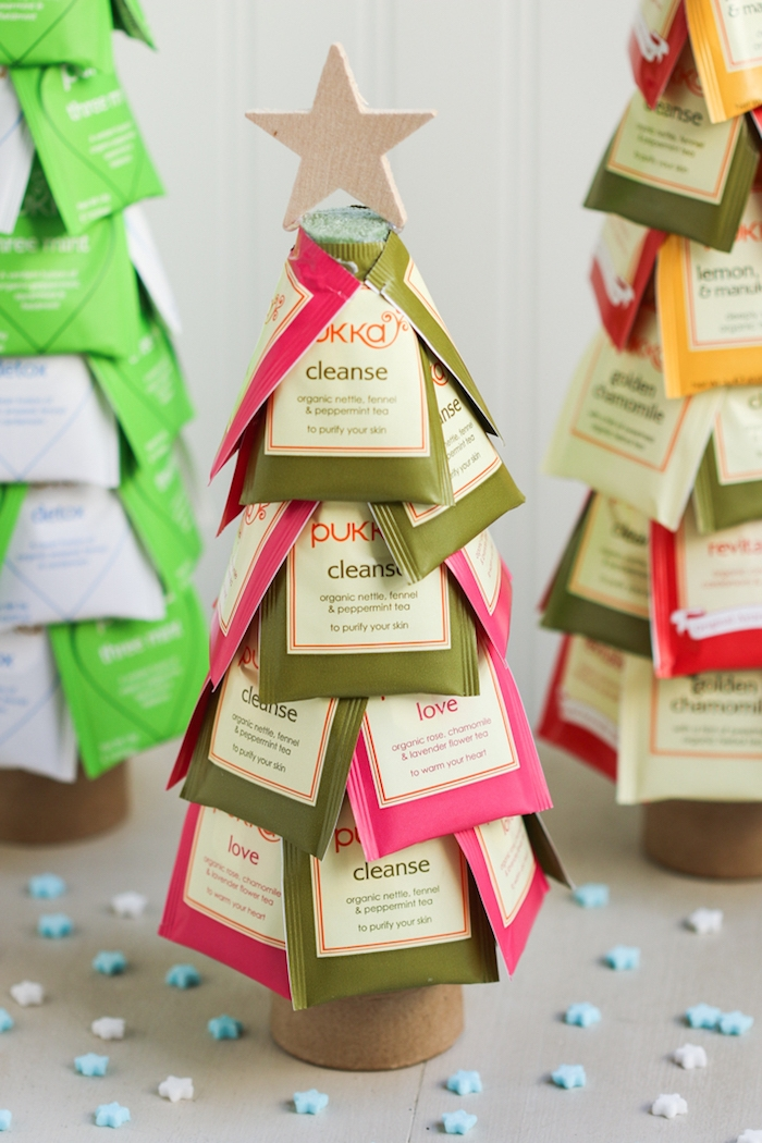 Weihnachtsbaum aus Teebeuteln, DIY Idee für kreatives Weihnachtsgeschenk oder Weihnachtsdeko