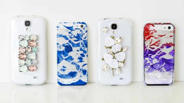 Glasperlen und gefärbte Handyhüllen, Handyhüllen selber gestalten mit ausgefallenen Designs