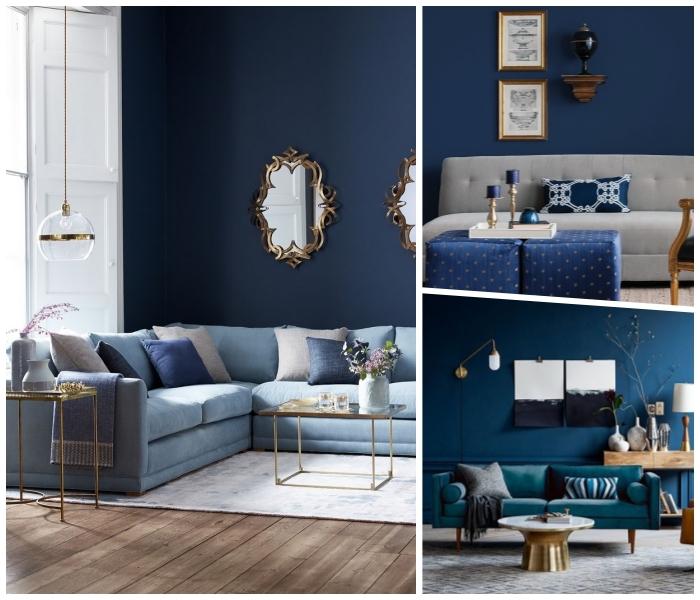 wanddeko wohnzimmer, dunkelblaue wandfarbe, spiegle mit goldenem rahmen, wohnzimemrdeko