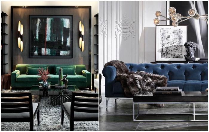 wanddeko wohnzimmer, abstrakte bilder über dem sofa, blaues und grünes samtsofa, einrichtungsideen