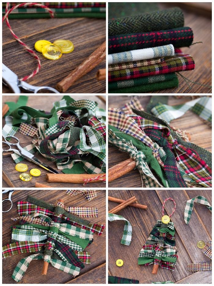 tannenbaum selber machen, weihnachten basteln, bunte stoffe, gelbe knöpfe, streifen stoff
